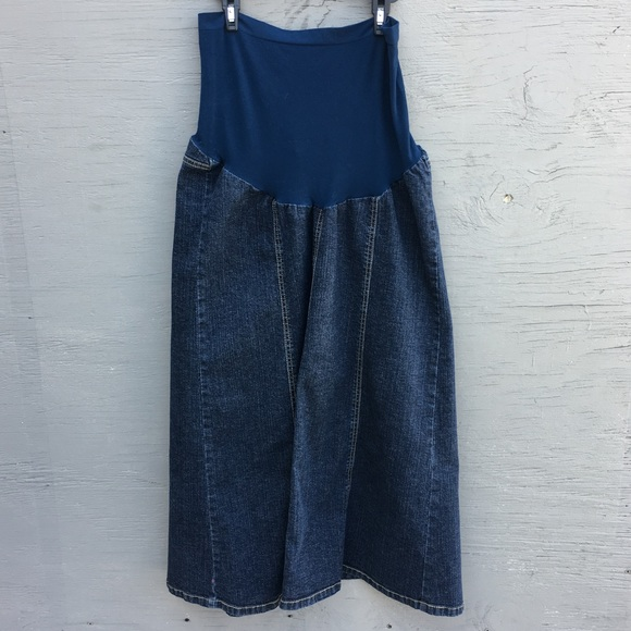 sale usa online new collection super cute Maternity long denim skirt